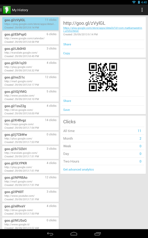goo.gl URL Shortener - screenshot