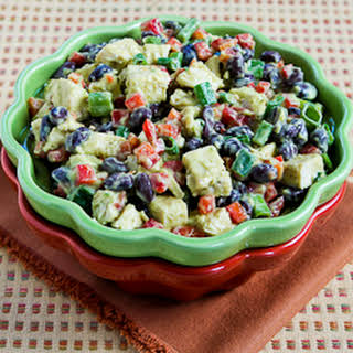 Chicken, Black Bean, and Red Pepper Salad with Spicy Avocado Dressing.