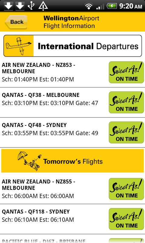 Wellington Airport Flight Info- screenshot