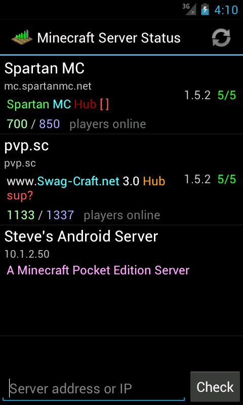 Server Status (for Minecraft) - screenshot