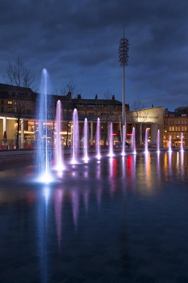 Centenary Square by Darrell Evans - City,  Street & Park  Fountains ( water, color, bradford, fountain, centenary square, buildings, , city, night )