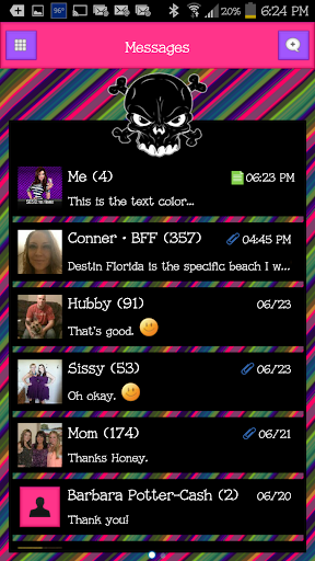 GO SMS - Luv Skulls 8