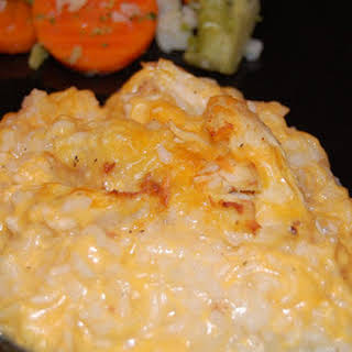 Chicken and Cheesy Rice Casserole.