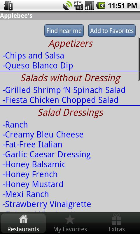 Gluten Free Restaurant Items- screenshot