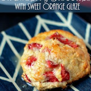 Strawberry Biscones with Sweet Orange Glaze