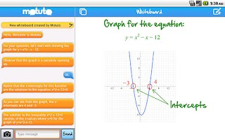 Screenshot of motuto tutor (tablet)