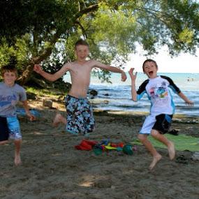 Grandsons at the beach by Bonnie Lea - Babies & Children Children Candids