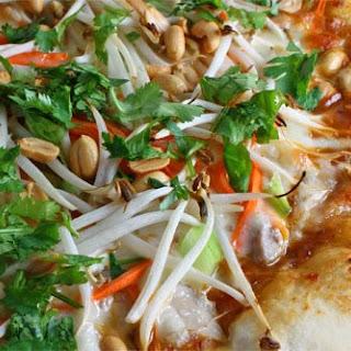 Thai Chicken Pizza with Spicy Peanut Sauce.