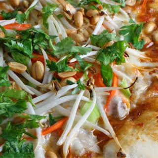 Thai Chicken Pizza with Spicy Peanut Sauce.