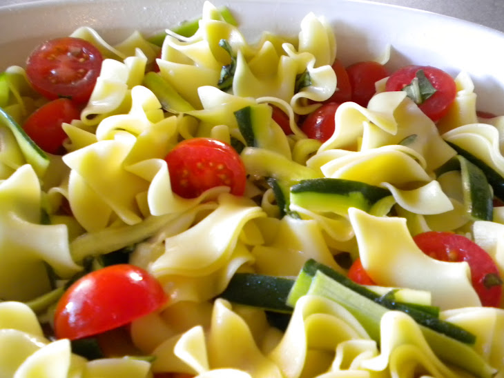 Cherry Tomatoes and Zucchini with Buttery Noodles Recipe