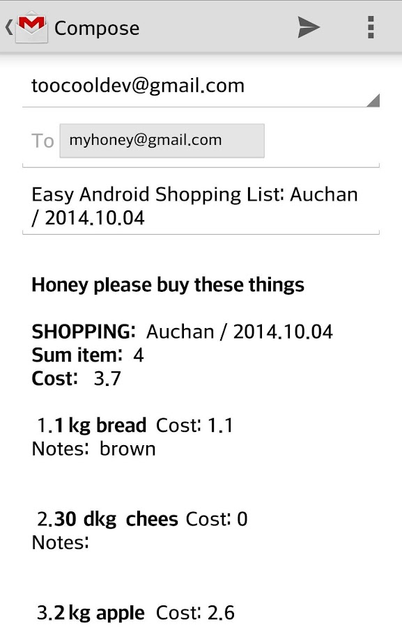 Easy Android Shopping List- screenshot