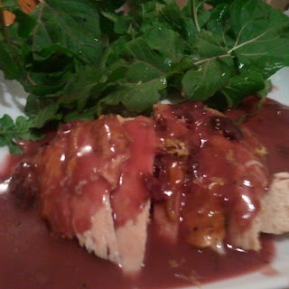 Roast Chicken with Dijon Cherry Gravy