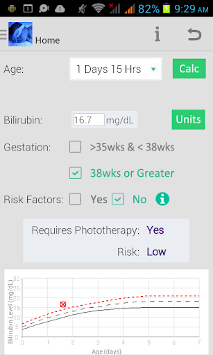 Phototherapy Calculator screenshot