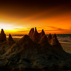 Sand Castle in Morning Light by Garry Dosa - Landscapes Beaches ( orange, sunrise, beach, sand castle,  )