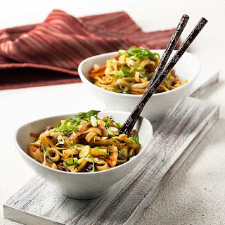 Gluten Free Mongolian Shiitake Noodles.