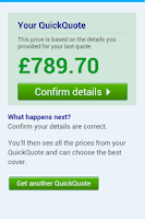 Screenshot of Confused.com QuickQuote
