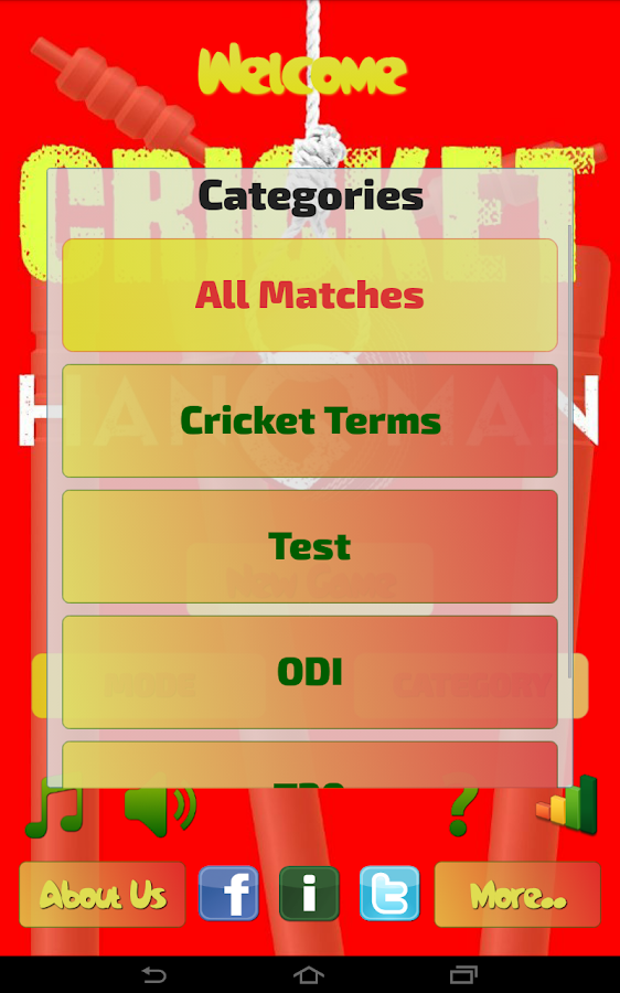 Hangman Intl' Cricket Players - screenshot