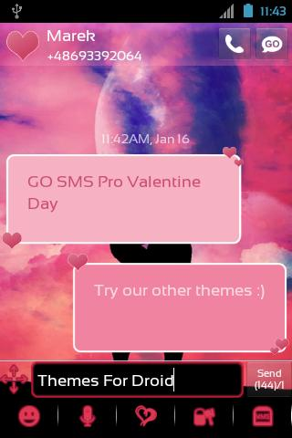 GO SMS Pro Valentine Day - screenshot