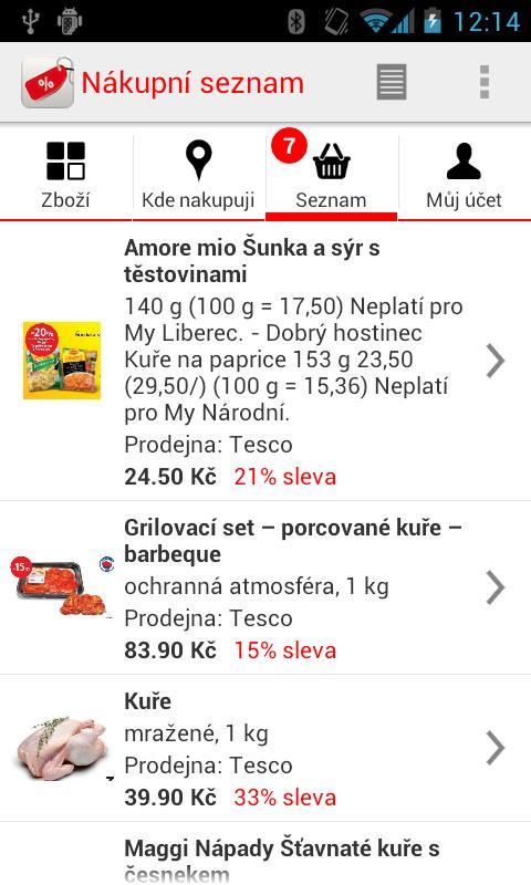 Nákupní seznam- screenshot