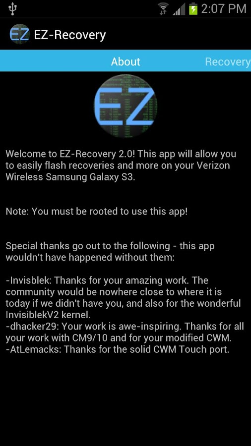 EZ-Recovery for VZW Galaxy S3 - screenshot