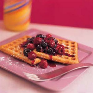 Waffles with Two-Berry Syrup.