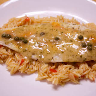 White Fish With Capered Wine Sauce.