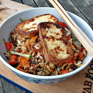 Warm Rice & Quinoa Salad with Pan Fried Tofu.