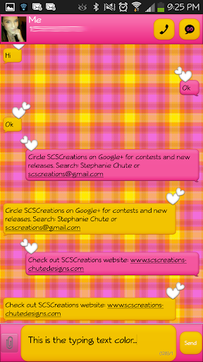 GO SMS - Pink Yellow Plaid 2