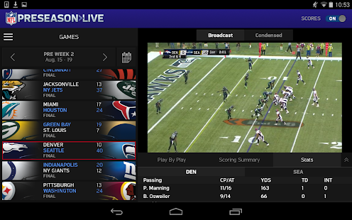NFL Preseason Live for Tablet - screenshot thumbnail