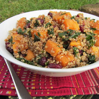 Sweet Potato, Kale, and Cranberry Quinoa Salad with Balsamic Dressing.
