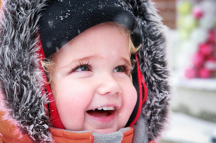 Winter Wonderful by Roberta Janik - Babies & Children Child Portraits ( holiday, faux fur, winter, winter wonder, winter wonderland, snow, bright eyes, first snow, smile, toddler, boy )