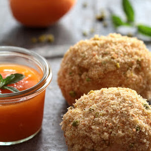 Marillenknödel, Austrian Specialty:  Apricot Quenelle Crusty Sweet Breadcrumb Crust with Pistachio