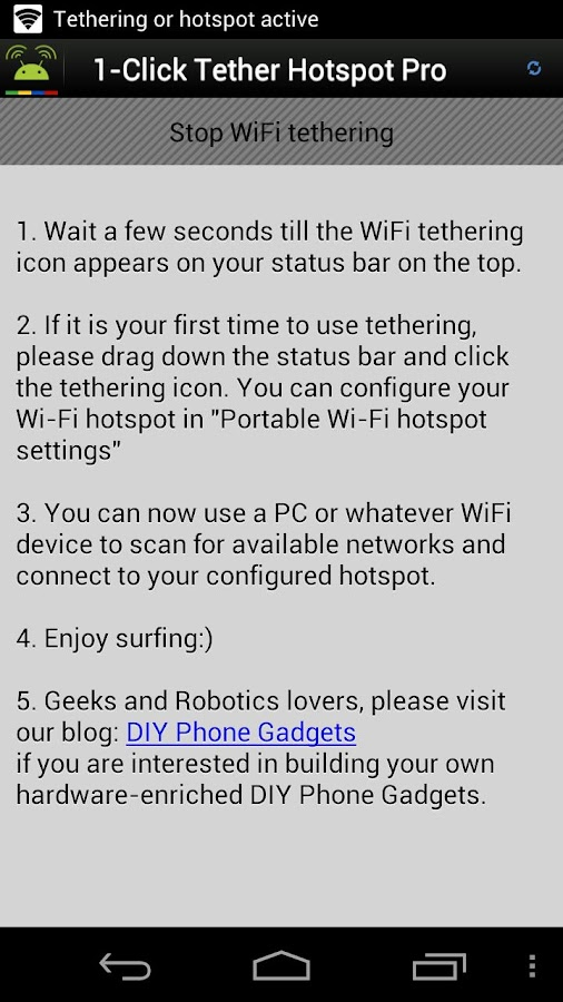 1-Click WiFi Tether No Root- screenshot