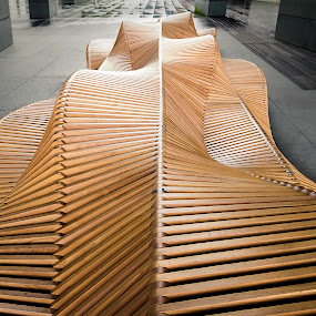 The Uiliuili Bench, Piotr Żuraw by Jernej Lah - Buildings & Architecture Architectural Detail ( university, undulating, wood, bench, wroclaw, object, minimalist, public, furniture,  )