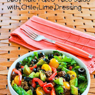 Baby Kale Paleo Taco Salad with Chile-Lime Dressing.
