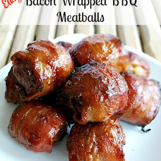 Bacon Wrapped BBQ Meatballs.