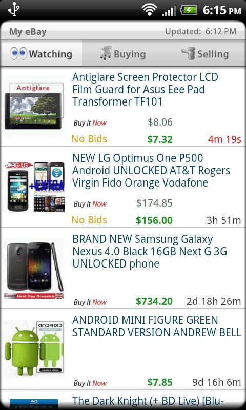 Droid Auctions for eBay - screenshot