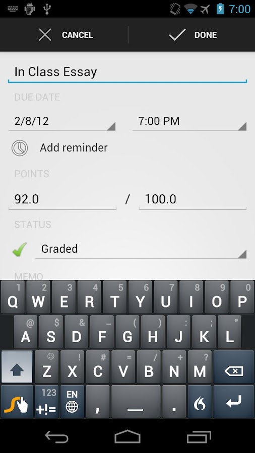 My GradeBook : Student Grades - screenshot