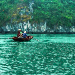 Floating by Barb Hauxwell - Digital Art Places ( rice paddy hat, water, traditional vietnamese hat, cloudy, vietnam, vibrant, tour, boat, paddle boat, halong, rain,  )