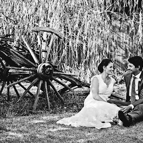 Chillin' by Alan Evans - Wedding Bride & Groom ( wedding photography, vintage, wedding gown, wedding day, wedding, aj photography, canberra, wedding dress, canberra wedding photographer, bride, old cart, rustic, improving mood, moods, red, love, the mood factory, inspirational, passion, passionate, enthusiasm,  )