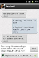 Screenshot of Textor - SMS with location