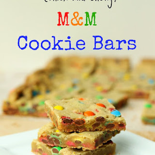 Thick and Chewy M&M Cookie Bars.