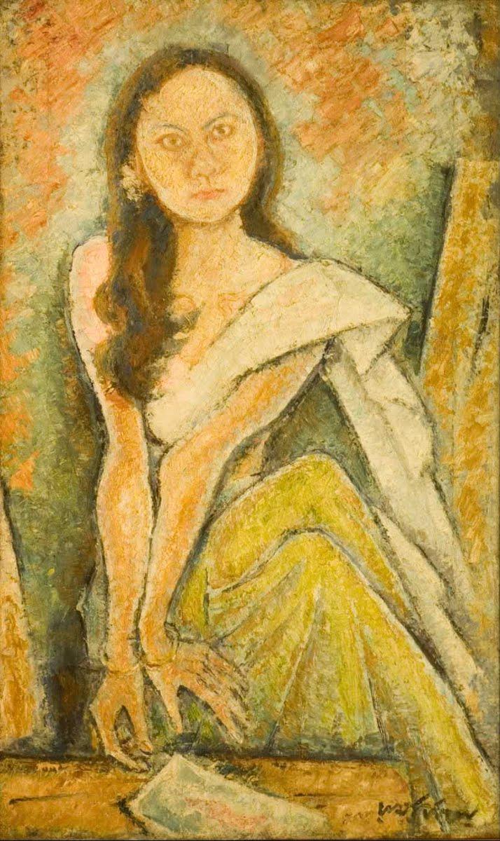 Painting 'Binodini' by Ramkinkar Baij. Oil on Gunny cloth.