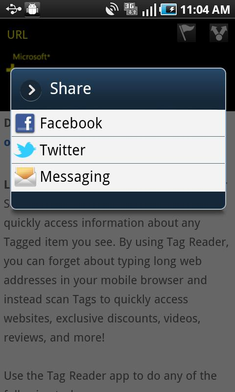 Microsoft Tag, QR & NFC Reader- screenshot