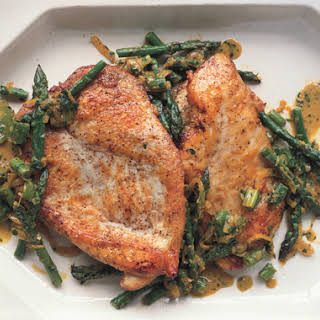Sauteéd Chicken Cutlets with Asparagus, Spring Onions, and Parsley-Tarragon Gremolata.