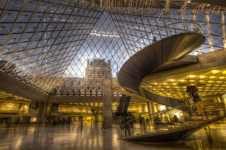 Louvre Interior by Ben Hodges - Buildings & Architecture Architectural Detail ( staircase, glass, paris ·     louvre ·     statue ·     old ·     hdr ·     pyramid ·     fountain ·     france ·     historical ·     public ·     rain ·  spiral )