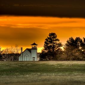 Prairie Sanctuary  by Bob Grandpre - Buildings & Architecture Places of Worship ( church, sunset, chapel, evening, worship, prairie, oahe,  )