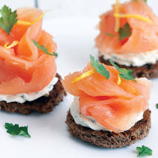 Smoked Salmon With Herb Cheese Toast.