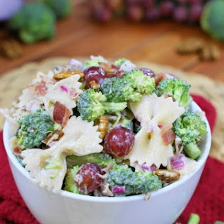 Broccoli Pasta Salad with Grapes.