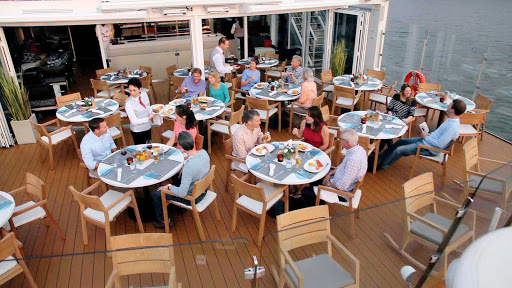 Viking-River-Cruises-Longships-Aquavit-Terrace-aerial - Enjoy al fresco dining while taking in the passing show in the Aquavit Terrace aboard your Viking River cruise.